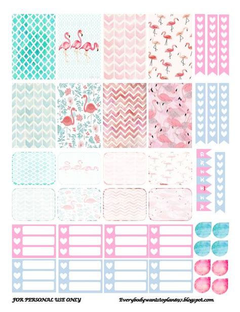 printable planner decorations free printable flamingo planner stickers from everybody