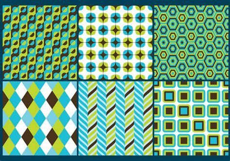 retro green blue patterns   vector art