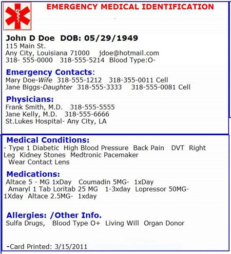 free printable medical id cards emergency medical card emergency preperation pinterest