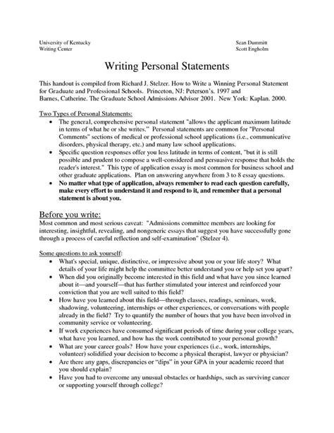 Exles Of Essays For College by How To Write A Personal Statement For A College Application