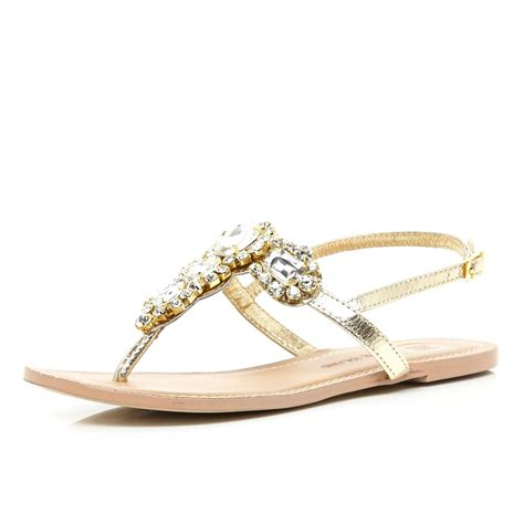 golden sandals river island gold embellished t bar sandals in gold