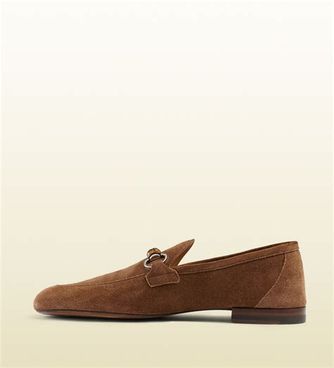 gucci bamboo loafer gucci suede bamboo horsebit loafer in brown for lyst