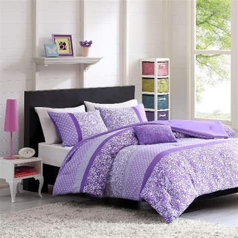 angela polka dot floral comforter set purple target