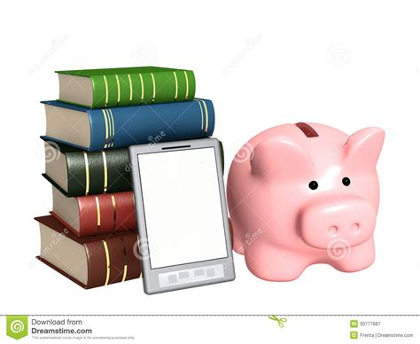 book piggy bank piggy bank e book and books royalty free stock