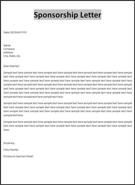 Sponsor Letter To A Friend Letter Templates Free Word S Templates Part 2