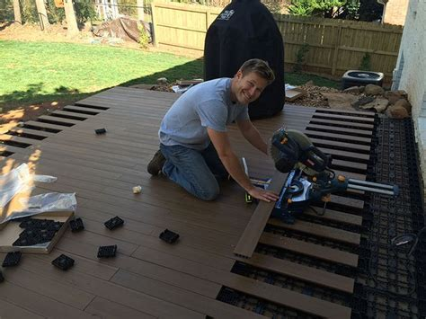 how to lay deck flooring on a concrete patio laying