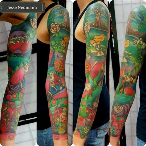 alice in wonderland tattoo sleeve in sleeve by neumann tattoos