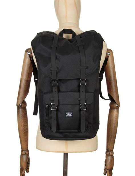 Original Herschel America Backpack Black america 25l backpack black black rubber accessories from buddha store uk