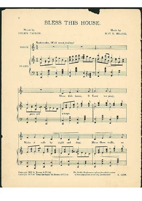 bless this house music bless this house free sheet music by may h brahe pianoshelf