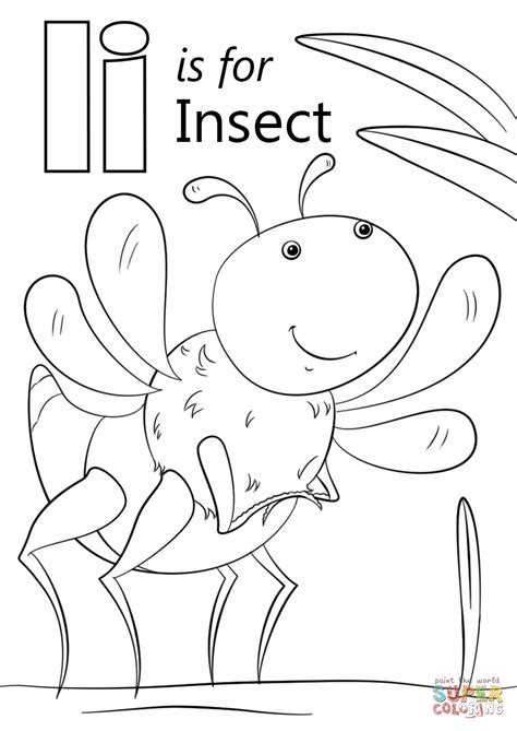 letter i is for iguana coloring page free printable letter i is for insect super coloring