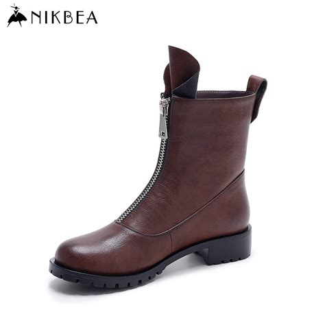 buy womens motorcycle boots aliexpress com buy nikbea vintage flat ankle boots