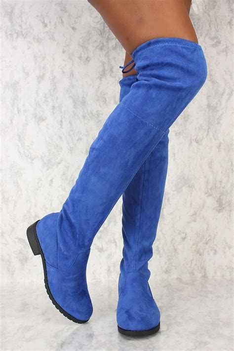 royal blue toe thigh high flat chunky heel ami