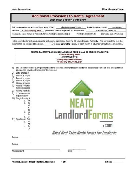 section 8 lease agreement rental lease agreement neato landlord forms get rental