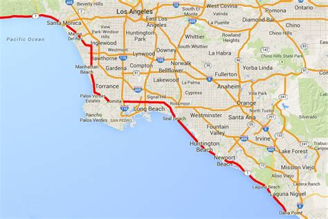 pacific coast highway map pacific coast highway in los angeles map and guide