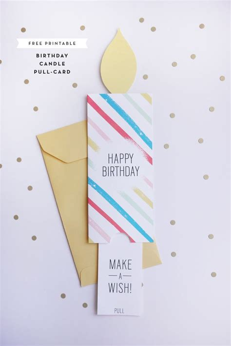 printable birthday cards diy printable birthday candle pull card cardmaking