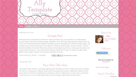 blogger templates for sale pink cute blogger blog template modern simple ally bd