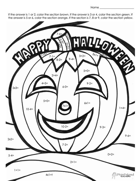 Halloween Coloring Pages Math | halloween math fact coloring page squarehead teachers