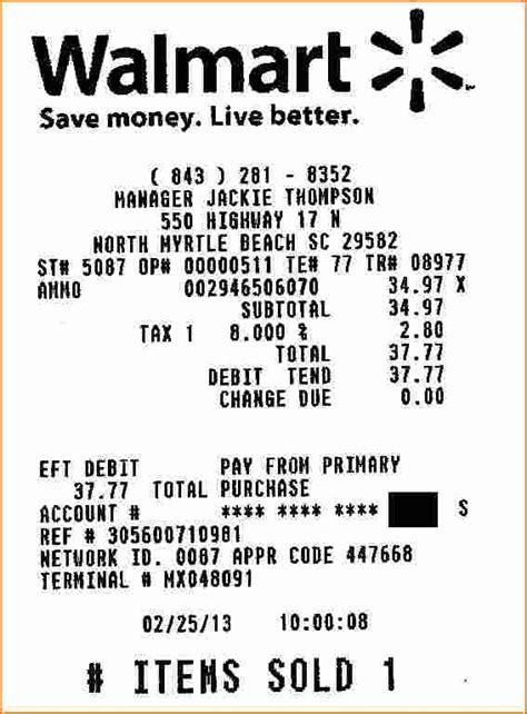 Walmart Receipt Template by Walmart Receipt Maker Free Chlain College