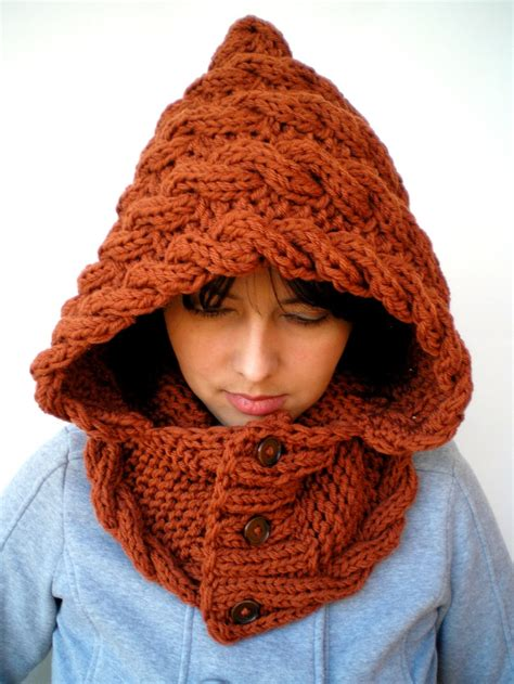 hooded cowl knit pattern marion spice brown soft acrilyc hooded
