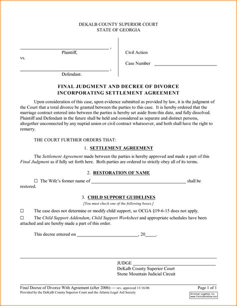 5 divorce decree form divorce document