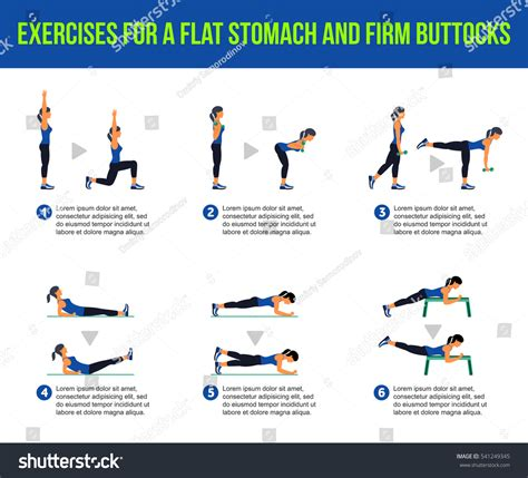 exercises flat stomach firm buttocks fitness stock illustration 541249345