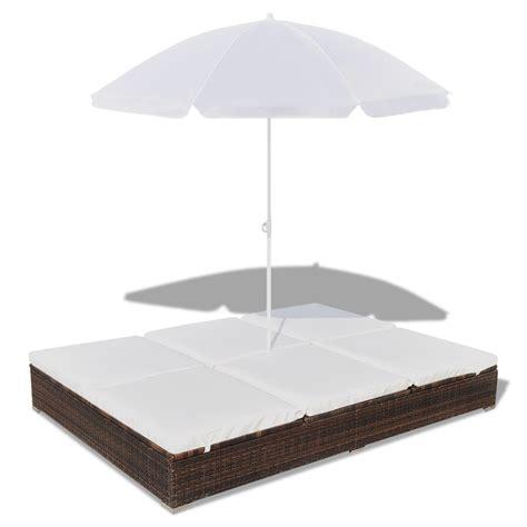 sun bed luxury outdoor rattan sun bed 2 persons with parasol brown vidaxl com