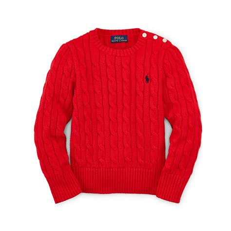 cotton cable knit sweater ralph cable knit cotton sweater in lyst