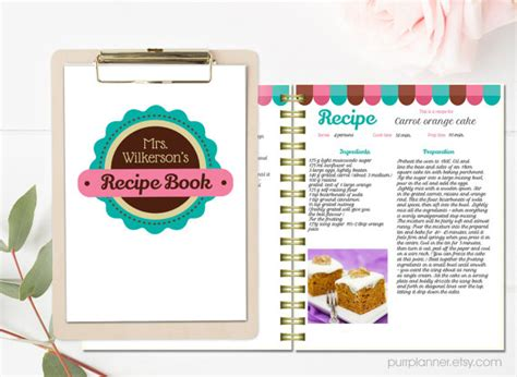 Word Vorlage Rezept A4 Personalized Recipe Book Template Editable Recipe Pages And Cover Printable Cookbook Recipe