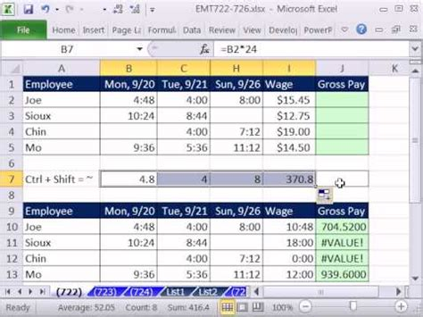 excel magic trick 722 calculate gross pay for week from