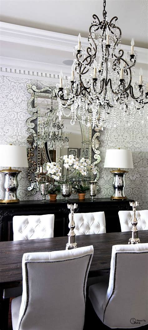 Chandelier Room Decor All Glam Dining Area For The Home Pinterest Damask Wallpaper Dining Room Chandeliers And