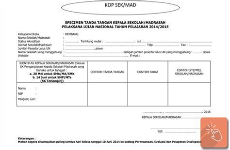 contoh format specimen tanda tangan kepala sekolah madrasah