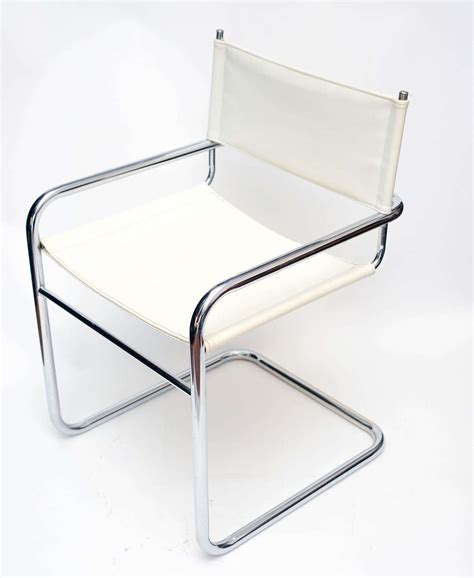 Pleather Chair by Set Of Four Mid Century Chrome And White Pleather Chairs