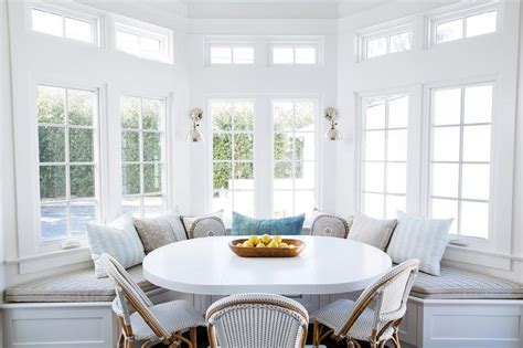 bay window kitchen table bench white pedestal dining table with black dining chairs