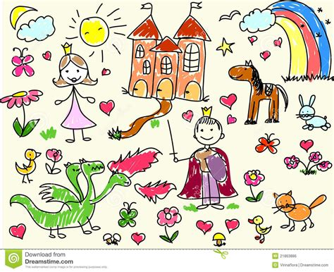 Children S Drawings Vector Stock Vector Illustration Of Child 21863886 Kid Drawing Picture