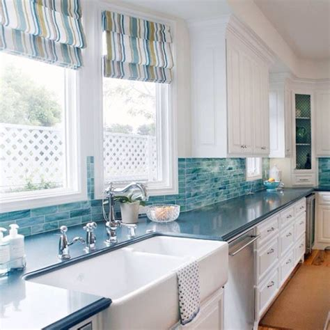 Easy Backsplash Ideas For Kitchen by Coastal Kitchen With Turquoise Backsplash Coastal