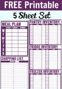 shopping for sheets free printable menu planner shopping list inventory sheets