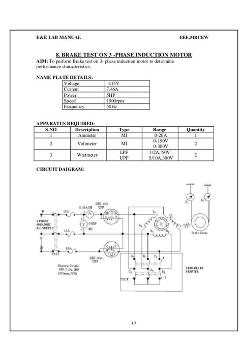 3 phase induction motor megger test e e lab manual