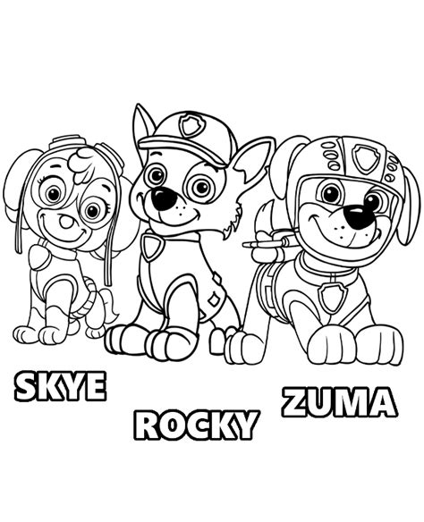 paw patrol spring coloring pages skye rocky zuma paw patrol pups