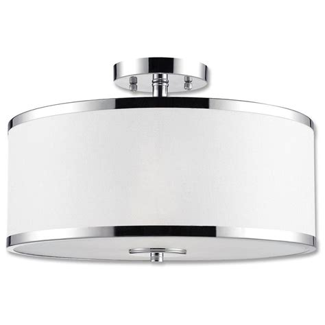 Chrome Light Fixture Beldi Concord Collection 2 Light Chrome Semi Flush Mount Light Fixture With White Fabric Shade