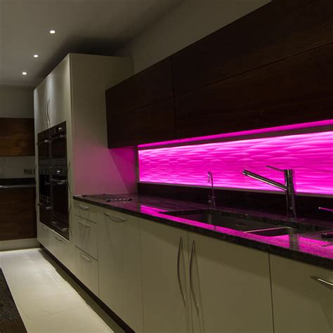 kitchen led lighting strips add splashes of colour with led lights