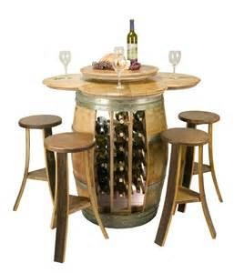 wine barrel table set with wine rack base