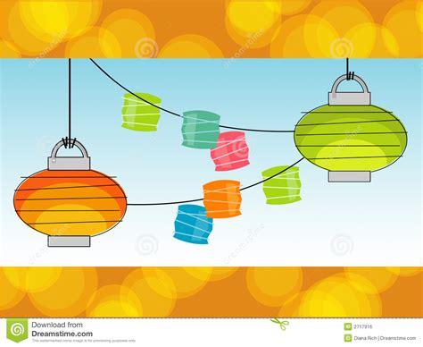 Patio Lights Vector Retro Paper Lanterns Vector Royalty Free Stock Image