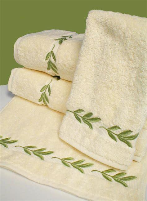 leaf pattern bath towels luxury linens bath towels leaf embroidered bath towels
