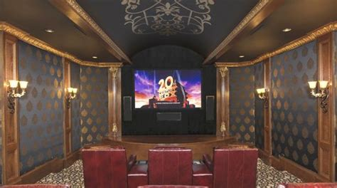 home theater room features multi level seating rich