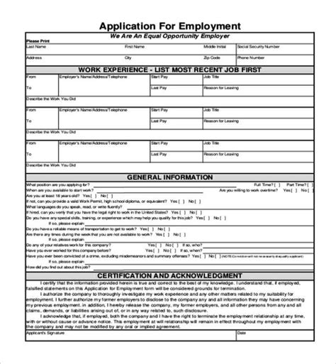 generic application blank generic application for employment form templatezet