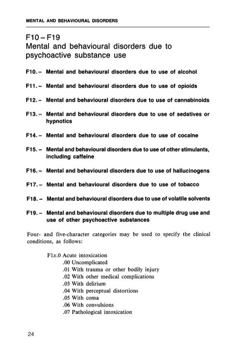 Icd 10 Code For Detox by Icd 10 Classification Of Mental And Behavioural Disorder