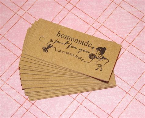 Handmade For You Labels - 25 just for you kraft tags gift tags gift