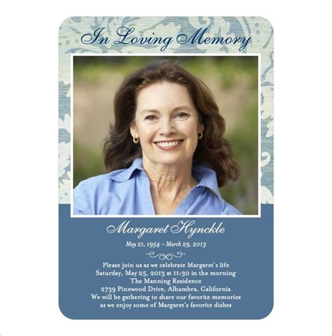 funeral card templates 21 obituary card templates free printable word excel
