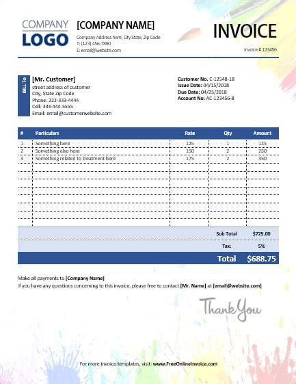 Colorful Painting Invoice Template Sales Invoices Invoice Templates Sle Painting Invoice Template