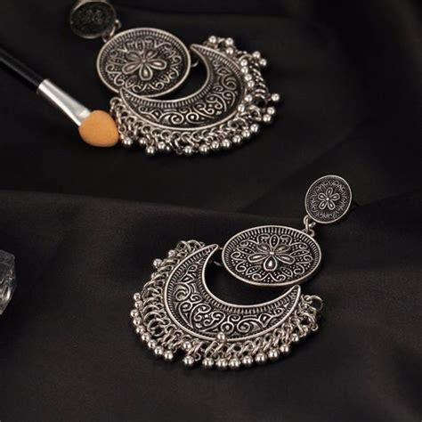 best seller oxidised silver jewelry chandbali earrings combo